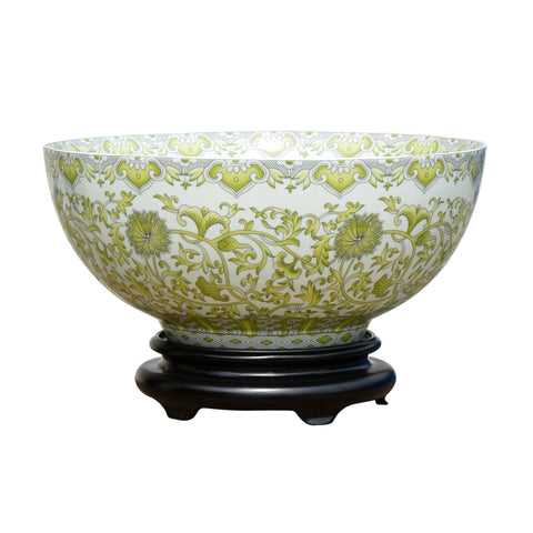 "Chinese White and Green Tapestry Motif Porcelain Bowl w Base 14"" Diameter"