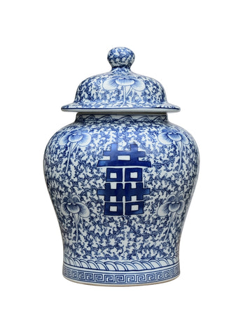 Blue & White Porcelain Double Happiness Chinoiserie Temple Jar 13.5""