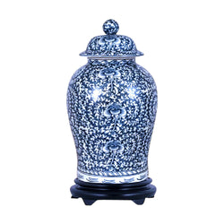 Beautiful Blue and White Porcelain Chinoiserie Temple Jar 19""