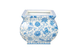 Blue and White Porcelain Floral Square Pot