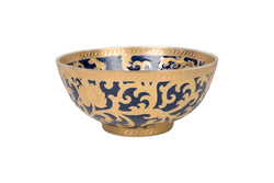 "Navy and Gold Tapestry Porcelain Bowl 8"" Diameter"