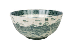 "Green and White Landscape Porcelain Scallop Bowl 12"" Diameter"