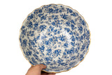 "Blue White Green Floral with Gold Trim Porcelain Scallop Bowl 12"" Diameter"
