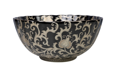 "Black and Silver Tapestry Porcelain Scallop Bowl 12"" Diameter"