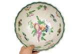 "Fruit Motif Porcelain Scallop Bowl 12"" Diameter"