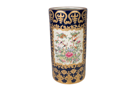 Navy and Gold Tapestry Famille Rose Porcelain Umbrella Stand 18""