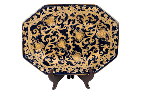 "Dark Navy and Gold Tapestry Pattern Porcelain Hexagonal Tray 14"" x 10.5"""