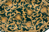 "Green and Gold Tapestry Pattern Porcelain Hexagonal Tray 14"" x 10.5"""