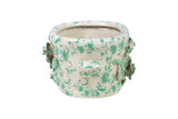 Oriental Green and White Oval Porcelain Embossed Floral Pot