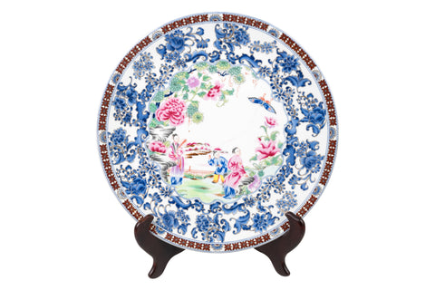 "Beautiful Oriental Famille Rose Porcelain Plate 12"" Diameter"