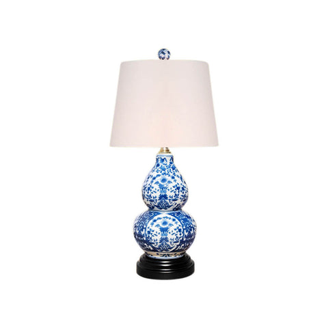 Blue and White Floral Motif Porcelain Vase Table Lamp 16""