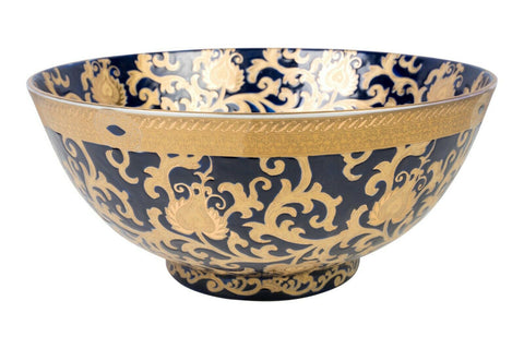 Oriental Navy and Gold Tapestry Porcelain Bowl 14""