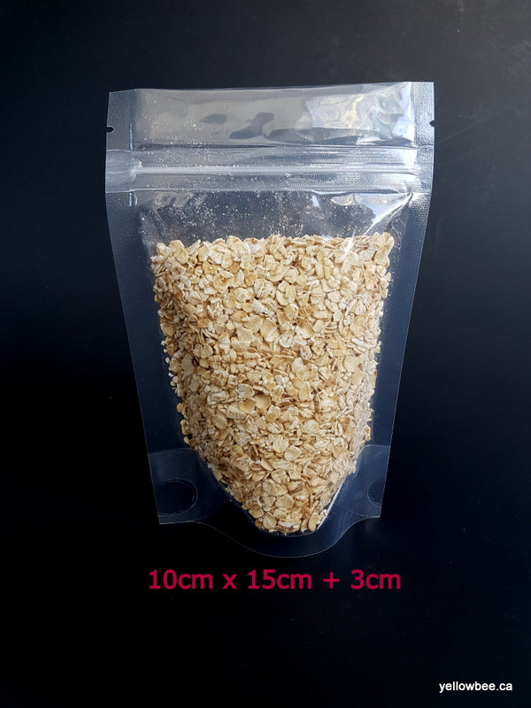 Resealable Self-Standing Clear Plastic Pouch (Small) - 10cm x 15cm + 3cm (10 per pack)