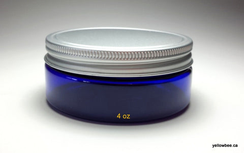 4oz PET Low Profile Cobalt Blue Jar with Aluminum Lid
