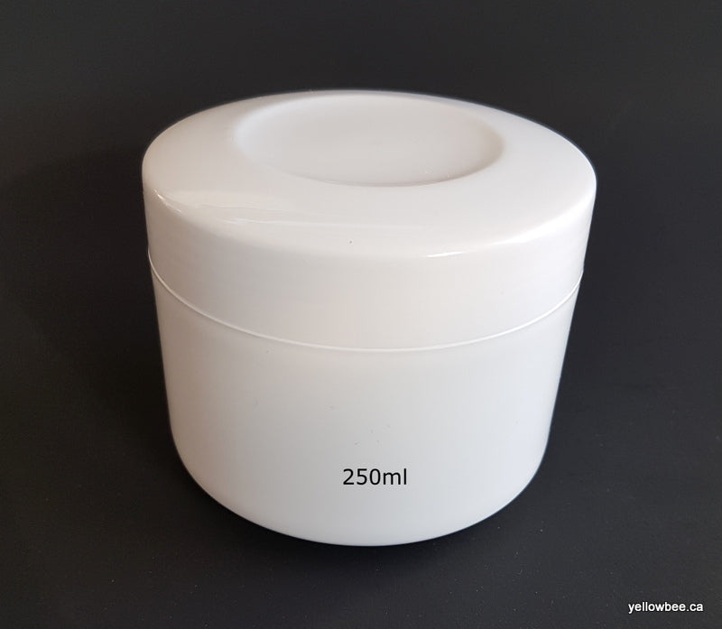 White PP Jar with Inner Lid and Spoon / Applicator - 250ml