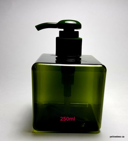 Square Bottle with Dispensing Pump - Olive Green - 250ml
