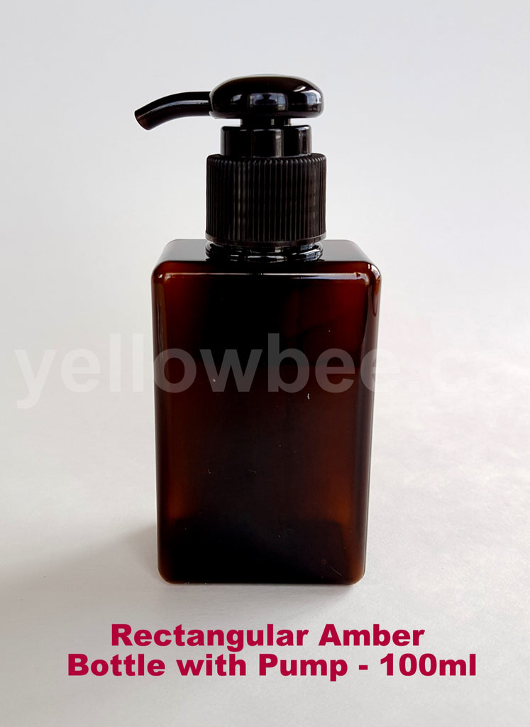 Rectangular Bottle with Dispensing Pump - Amber - 100ml