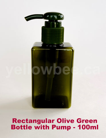 Rectangular Bottle with Dispensing Pump - Olive Green - 100ml