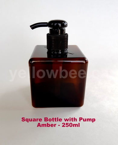 Square Bottle with Dispensing Pump - Amber - 250ml