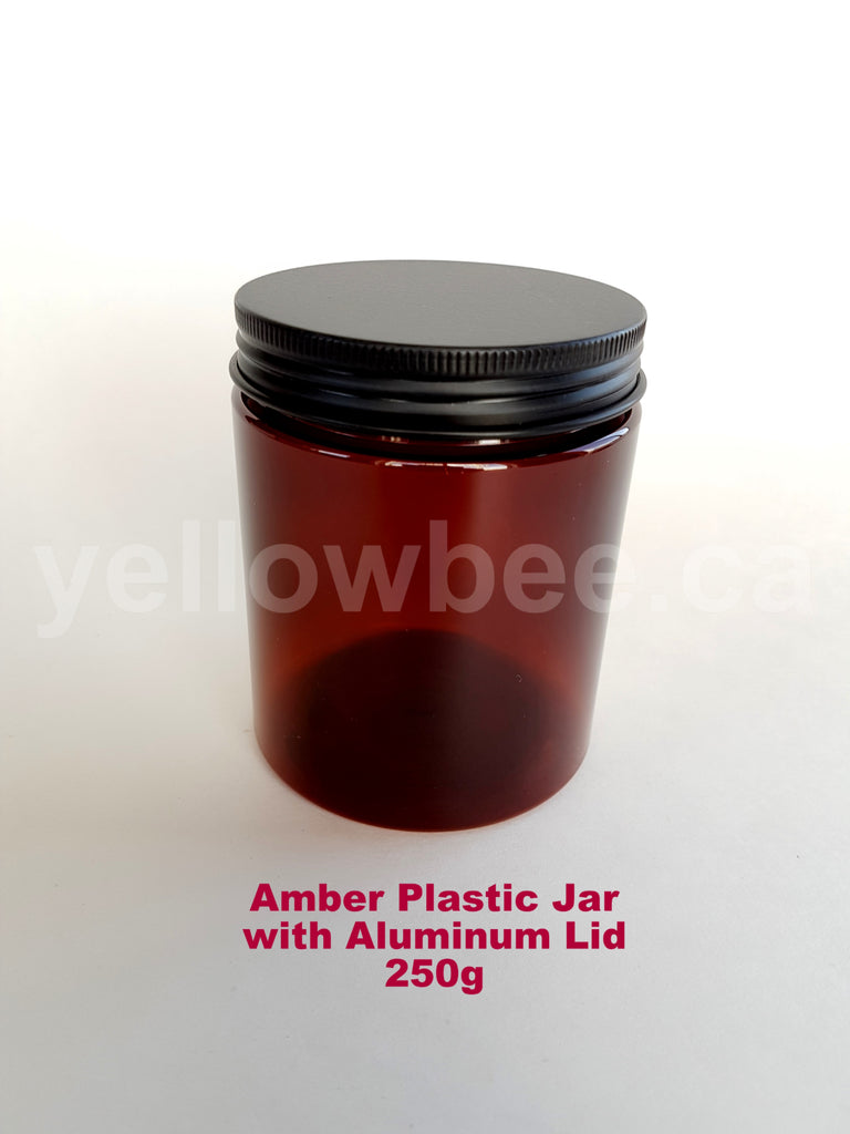 Amber Plastic Jar with Black Aluminum Lid - 250g / 8.5oz