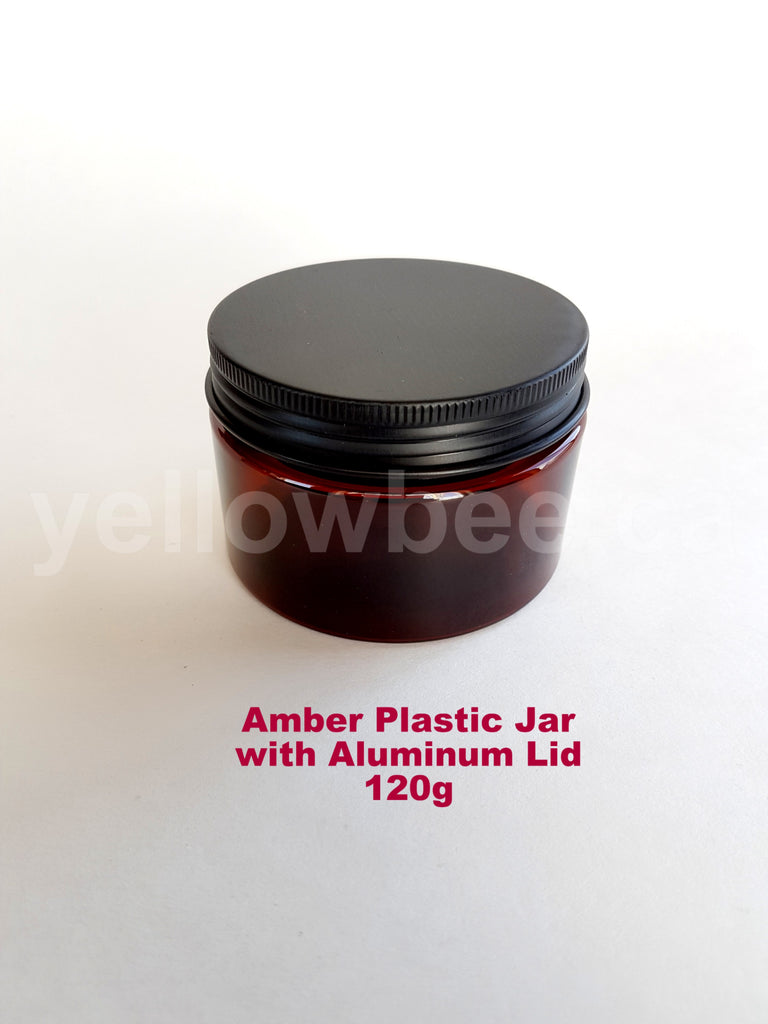 Amber Plastic Jar with Black Aluminum Lid - 120g / 4oz