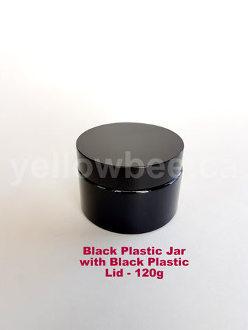 Black Plastic Jar with Black Lid - 120g / 4oz