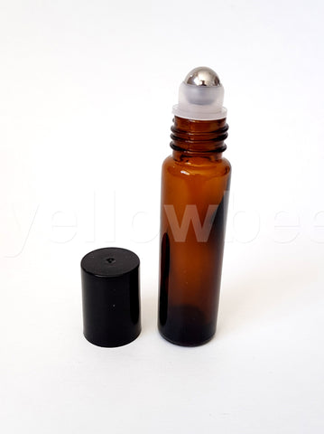 Amber Perfume Roller Bottle - 10ml / 0.34oz (Pack of 12pcs)