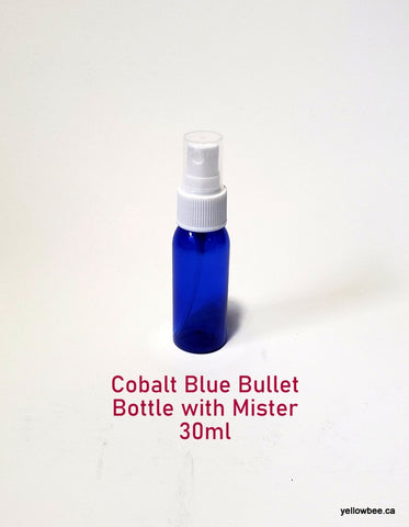Cobalt Blue Bullet Plastic Bottle with Mister - 30ml
