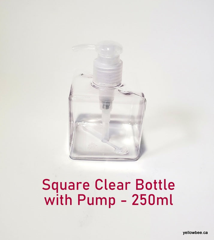 Square Bottle with Dispensing Pump - Clear - 250ml