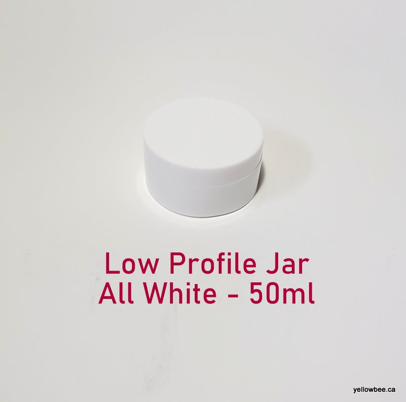 Low Profile Double Wall All-White Plastic Jar - 50ml