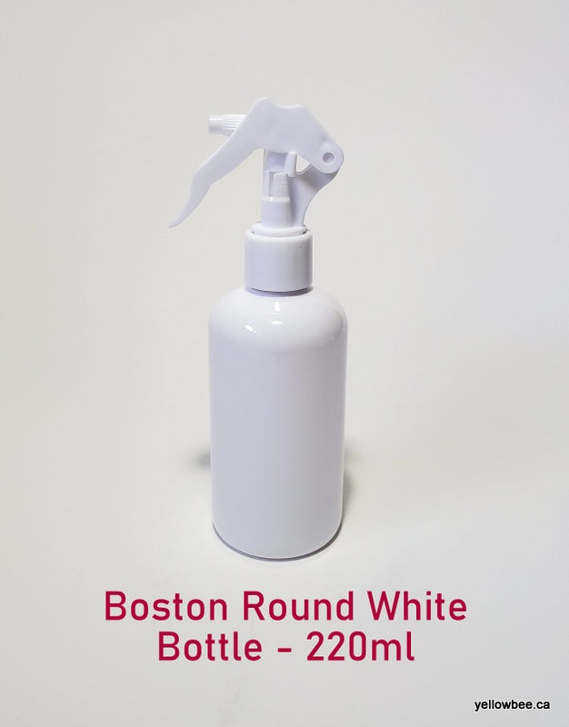 White Boston Round Plastic Bottle with Trigger Mister - 220ml