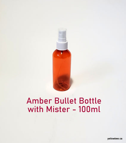 Amber Plastic Bullet Bottle with White Mister - 100ml