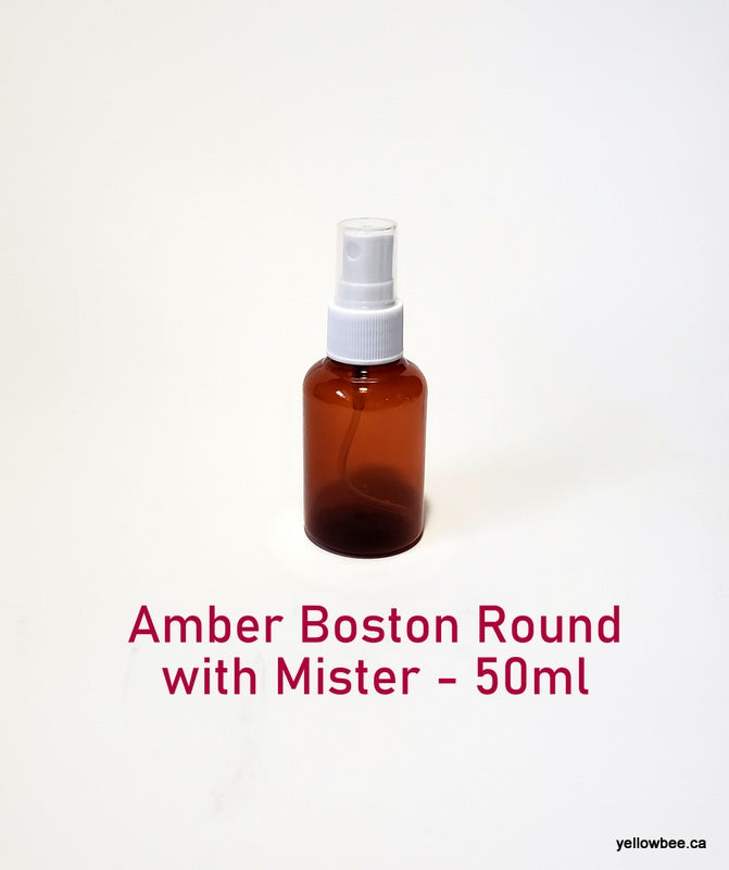 Amber Boston Round Plastic Bottle with White Mister - 50ml