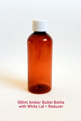 Amber Plastic Bullet Bottle with White Lid + Reducer - 100ml