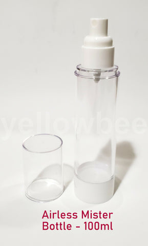 Clear Airless MISTER / SPRAYER Bottle - 100ml / 3.38oz (Reusable)