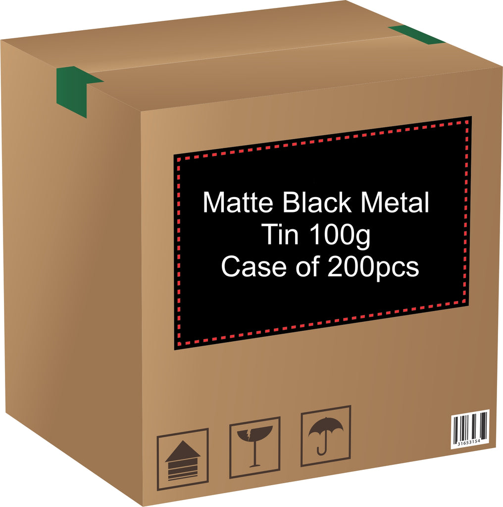 Metal Tin (Matte Black) with Screw Lid - 100g / 3.53oz (Full Case of 200pcs)
