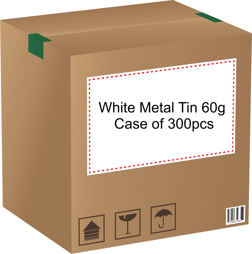 Metal Tin (White) with Screw Lid - 60g / 2.12oz (Full Case of 300pcs)