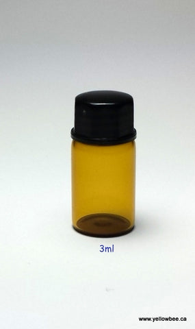 New Essential Oil Glass Bottle - Amber - 3ml / 0.10oz