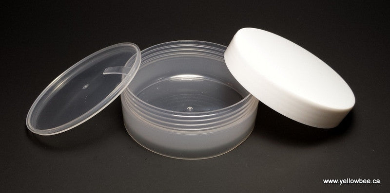 Low Profile Double Wall Plastic Jar with White Lid - 100ml