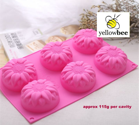 Soap Mold - 6 Cavity Sunflowers 2 - SM-008