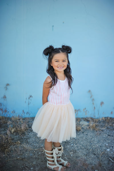 Vertical Stripe Tutu Dress