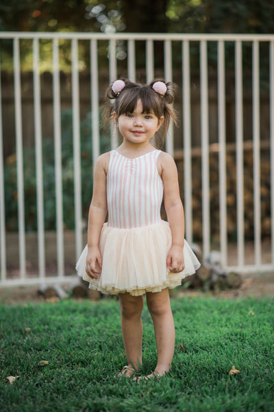 Vertical Stripe Dance Leotard with Tutu