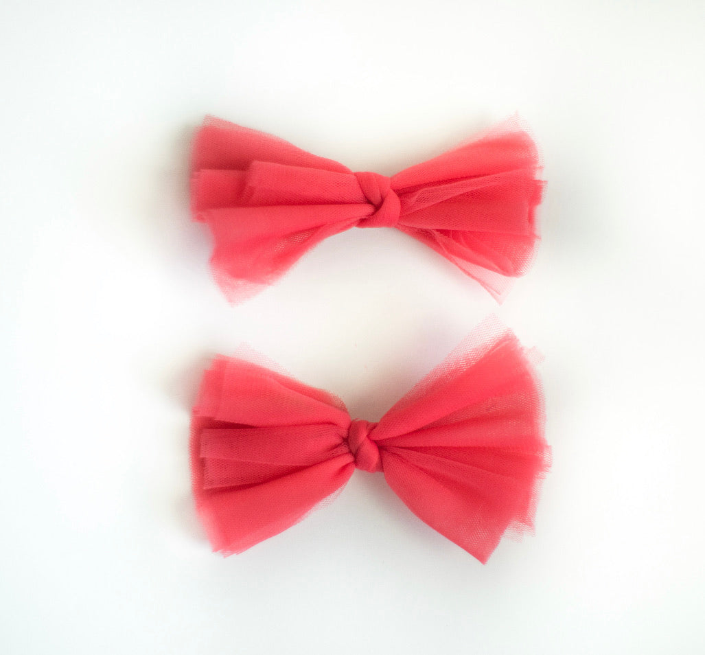 Muted Red Tulle Bows - Preorder