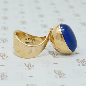 jens alby gold and lapis mid mod ring