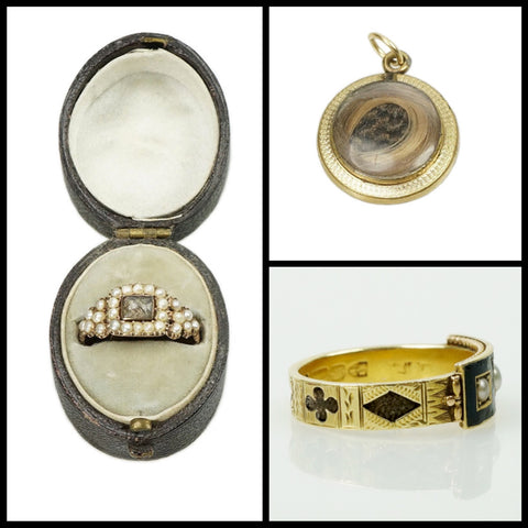 hair rings and locket victorian