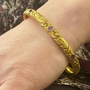 American Art Nouveau 14k Repoussé Bangle Bracelet set with Amethysts