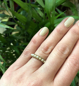 Vintage Gold Band with Pearls