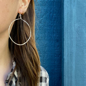 Artisan Hammered Silver Hoop Earrings by Brin