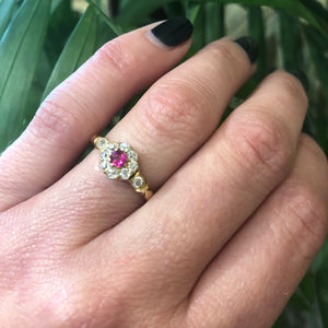 Antique 18k Gold Ruby and OMC Diamond Ring