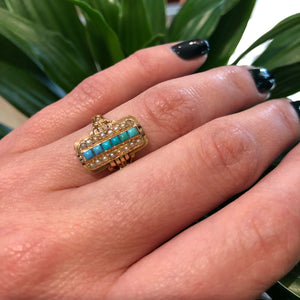 Turquoise and Pearl Gold 19th c Ring